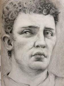 Torsten Holtz, fusain, d'après le buste de l'empereur Claude du Musée des Antiquités de Berlin, sur le Lustgarten (inv. 1965.10). Pour Pontcerq, mai 2019.